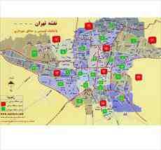 نقشه اتوکد مناطق تهران به صورت قطعه بندی